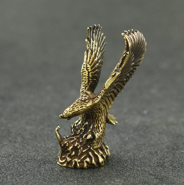 Collection Chinese Brass Carved Animal Bird Eagle Spread Wings Bring Success Exquisite Small Statue Gift