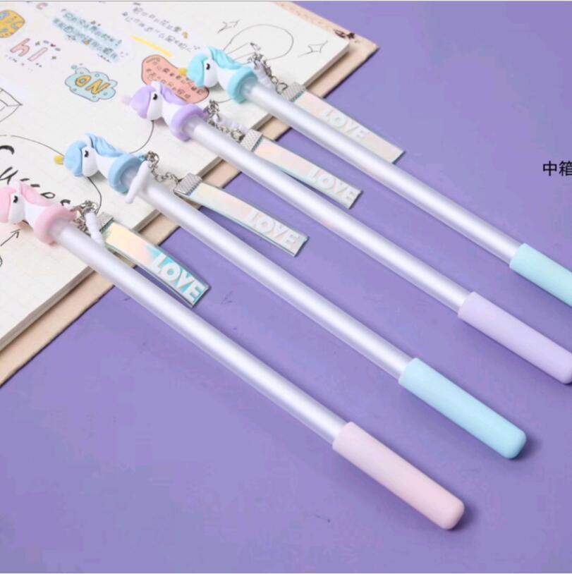 48 pcs Gel Pens Wishing Unicorn Pendant colored kawaii gift gel ink pens pens for writing