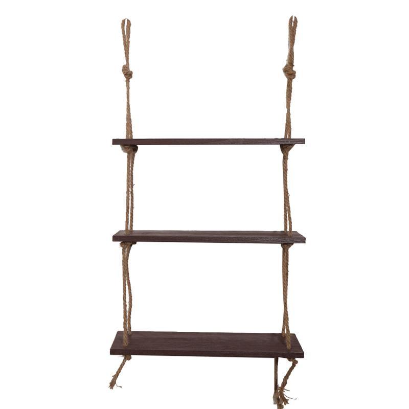 деревянная подвесная полка веревка для качелей плавающие полки 3 уровня джутовая веревка настенный