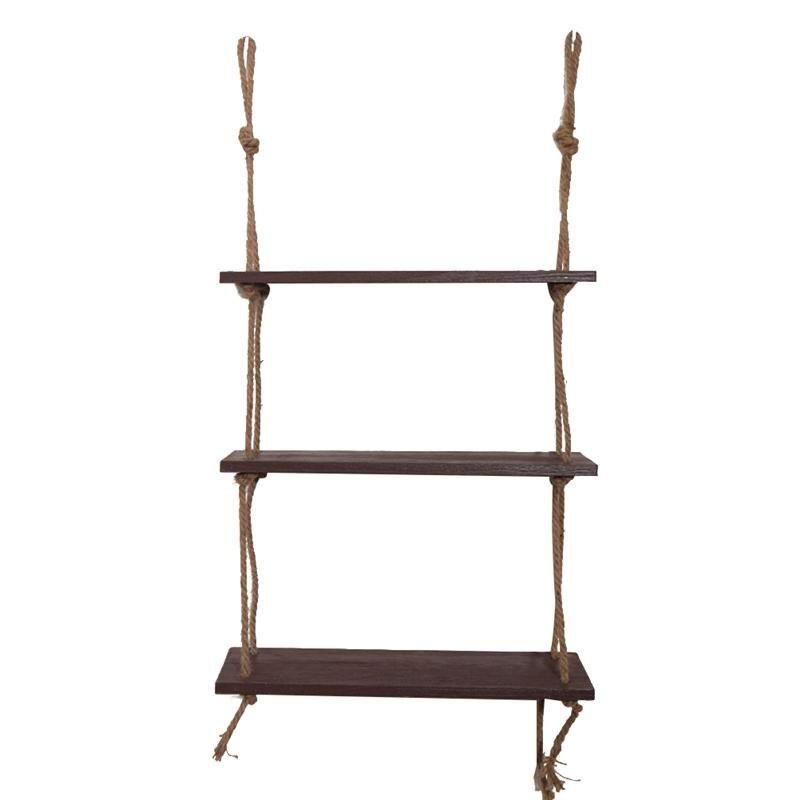 Wooden Hanging Shelf Swing Rope Floating Shelves 3 Tier Jute Rope Wall Display Rack(Dark Brown) Полка