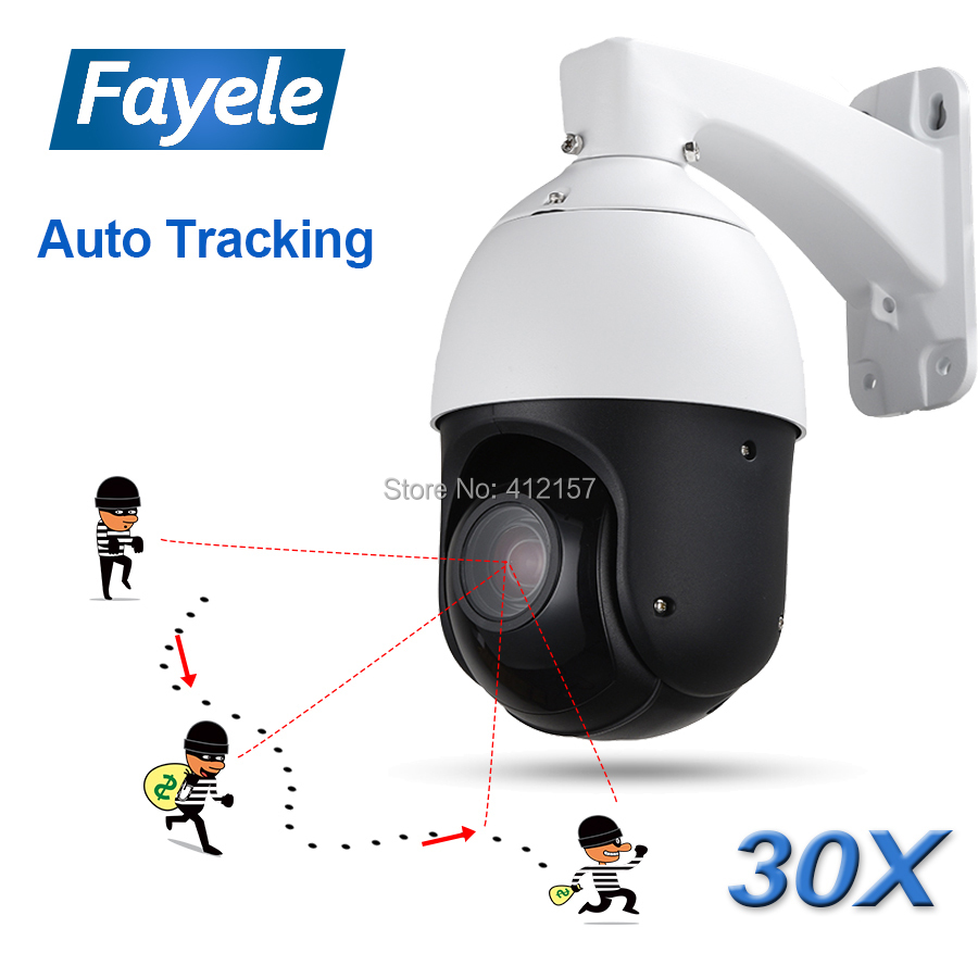 IP66 Outdoor CCTV 2MP Auto Tracking PTZ Camera Person Detection Humanoid Recognition H.265 IP Camera IR Auto Tracker 30X ZOOM
