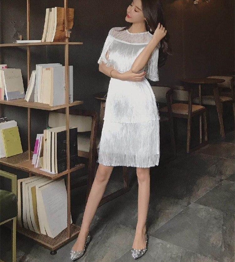 new styles cb196 913d2 Elegante Donne Di Bianco Vestito Maglia Dell'annata ...