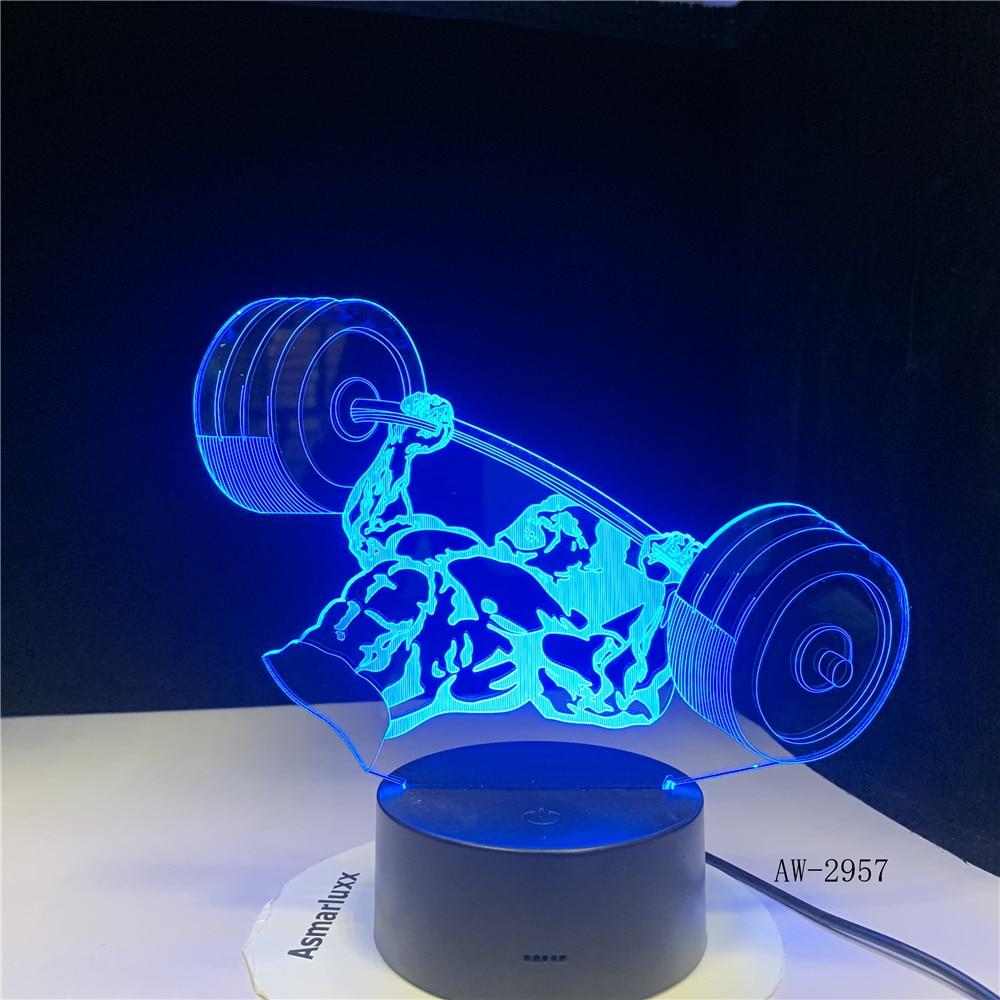 3D Night Light 7 Color Changing Acrylic USB Novelty Weight Lifting Visual Desk Lamp Home Decor Sleep Lighting Gym Gifts AW-2957