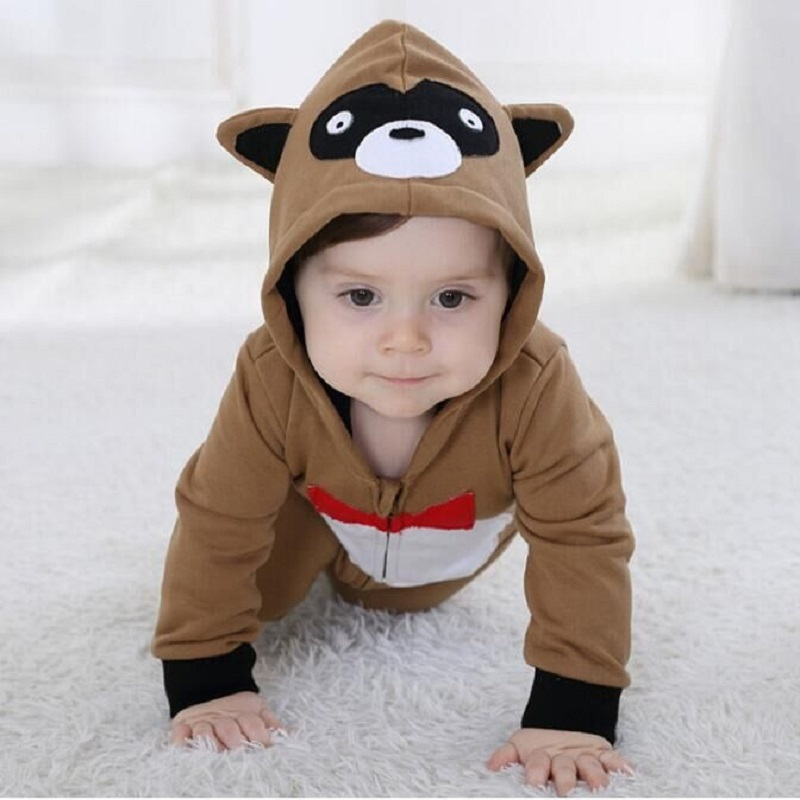 Androktones 2018 Spring Newborn Infant Baby Clothes Pure Cotton Romper Hooded Jumpsuit Brown Raccoon Onesie Cosplay Boys Costume