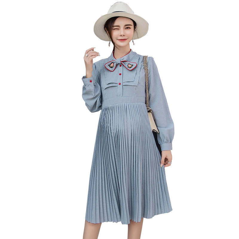 Pengpious 2019 maternity clothes long sleeve bow collar pregnant women long loose dress striped patchwork pleated dress sweet