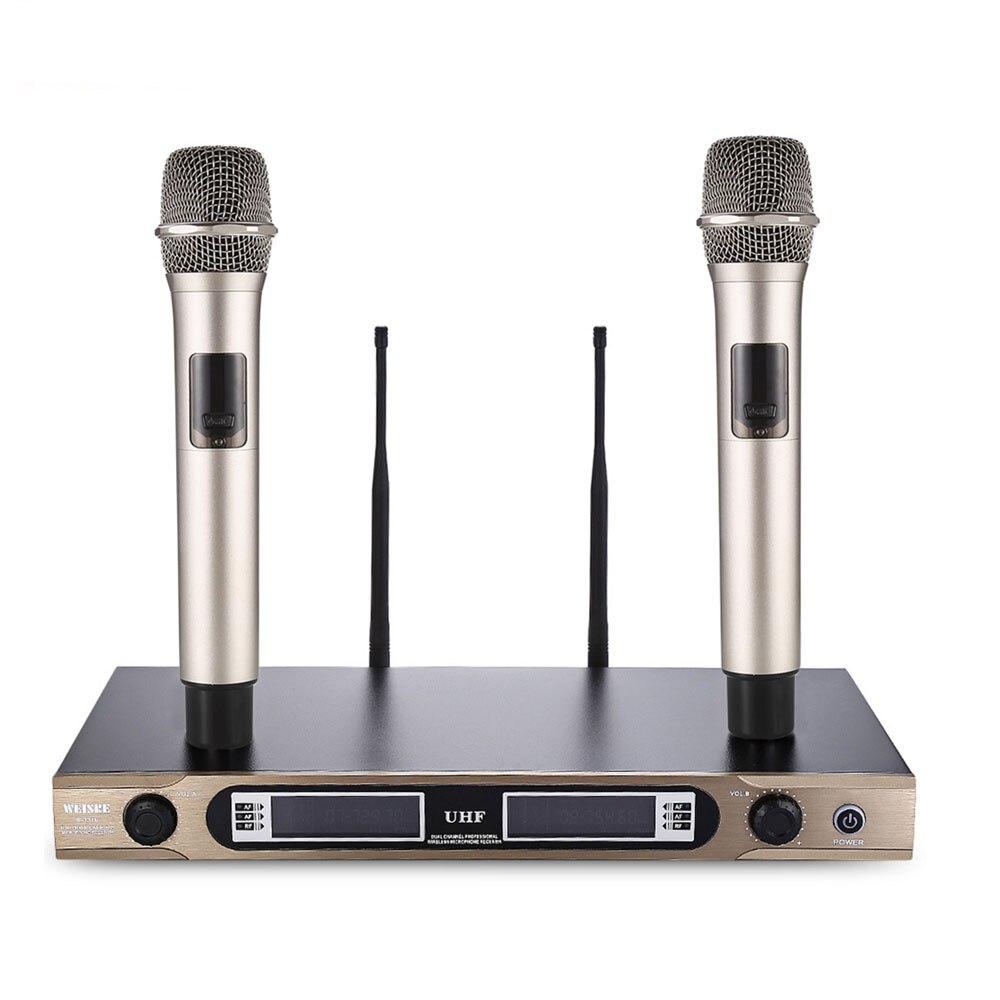 WEISRE 720-770MHz Professional U-3316 Wireless UHF Dual Channel Receiver Karaoke Handheld Microphone Set With 2 MicrophoneWEISRE 720-770MHz Professional U-3316 Wireless UHF Dual Channel Receiver Karaoke Handheld Microphone Set With 2 Microphone