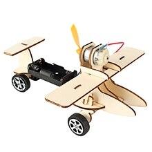 Дети Diy Электрический деревянный гоночный автомобиль собранные головоломки научный эксперимент развивающие мальчики девочки раннего обучения игрушка