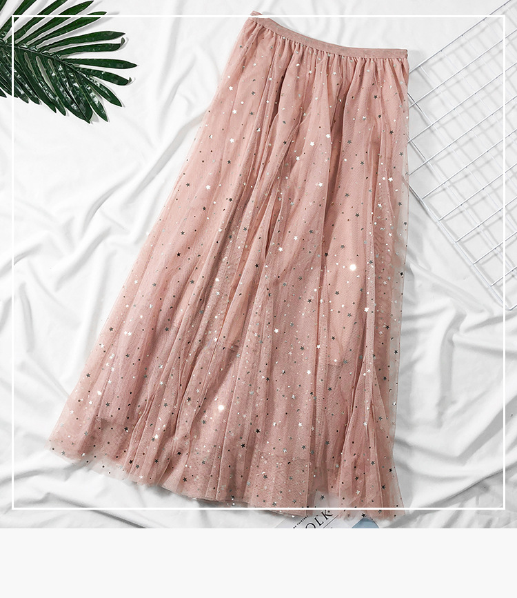 2019 Autumn Skirts Womens Ladies High Waist Solid Color Pleated Mesh Bling Long Maxi Skirt Tulle Prom Sweet Style Long Skirts