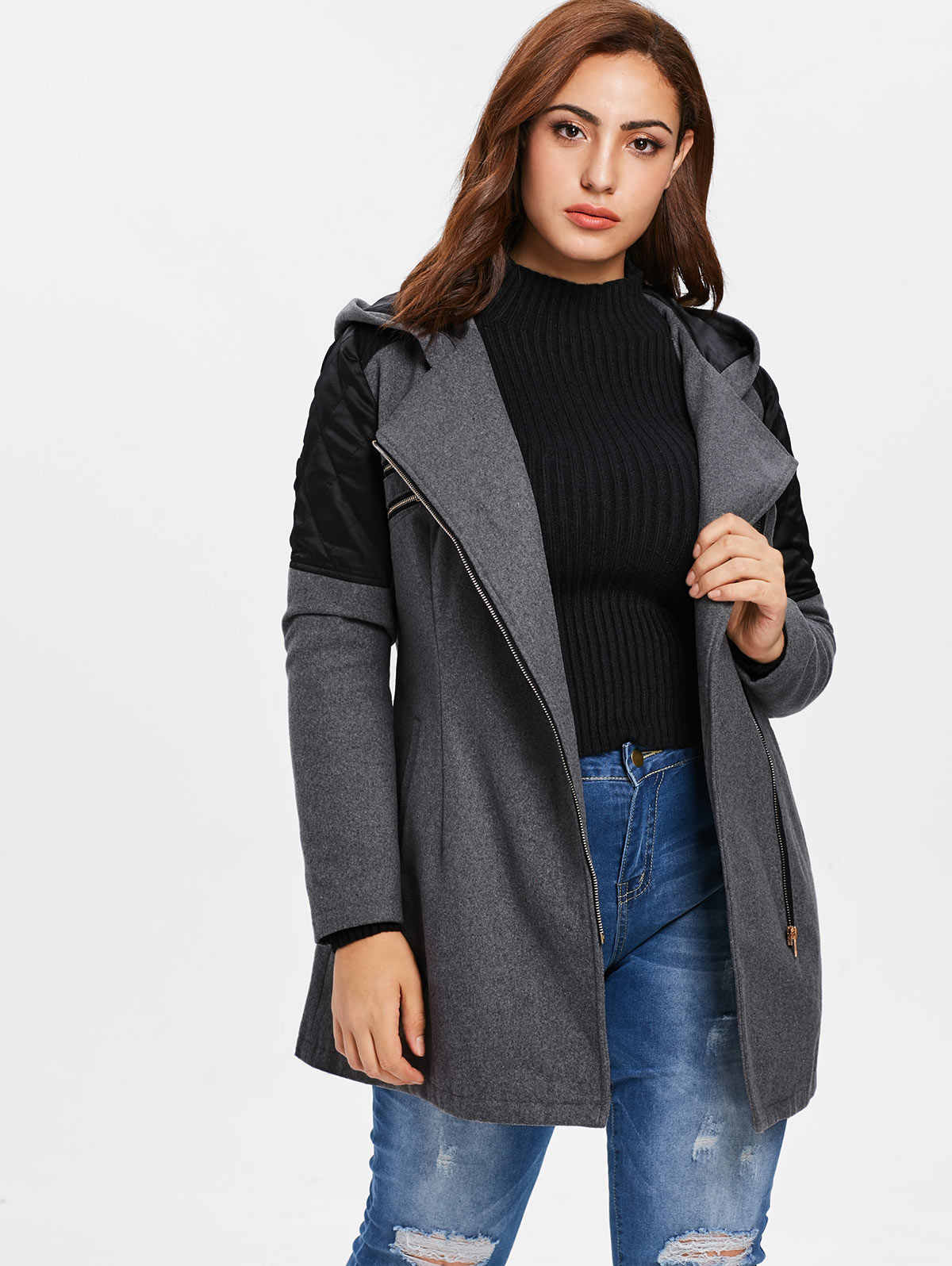 Wipalo Plus Size Contrast Zippered Woollen Coat Women Outerwear Winter Hooded Long Sleeve Patchwork Coats Overcoat 2018 Outwear