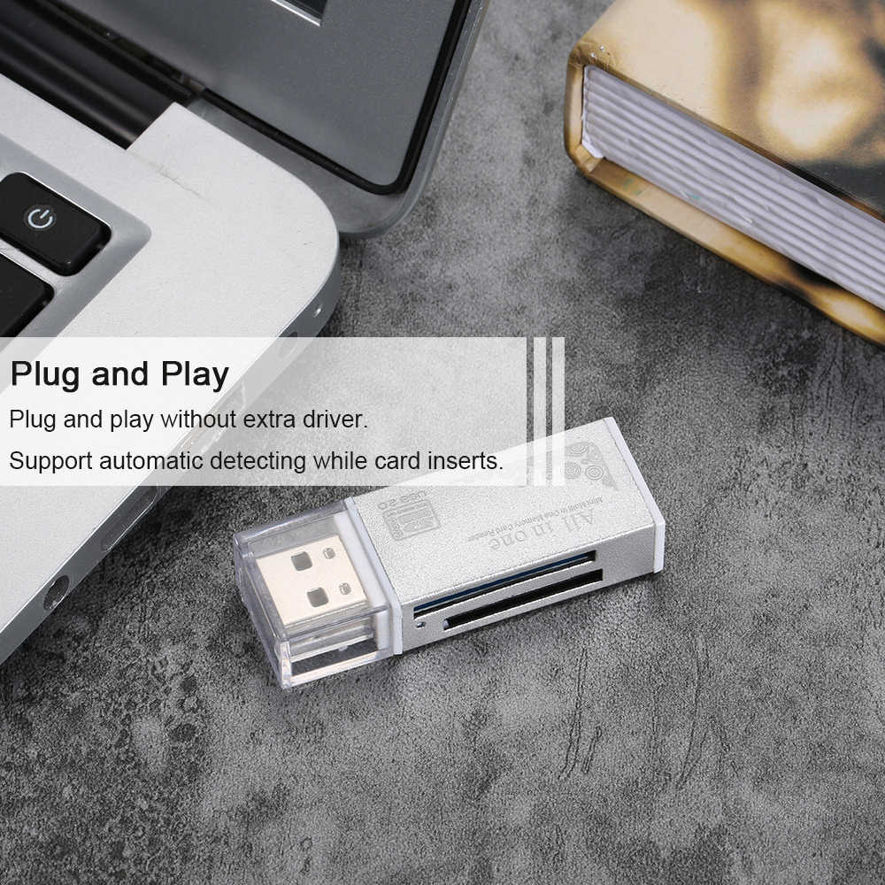 جميع في واحد قارئ بطاقات USB 2.0 البسيطة المحمولة ل SD/TF/MS مايكرو (M2)