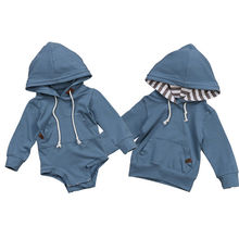 2019 Hot Baby Boys Brother Blue Solid Hoodie Sweatshirt Hooded Tops Romper Jumpsuit Casual Clothes