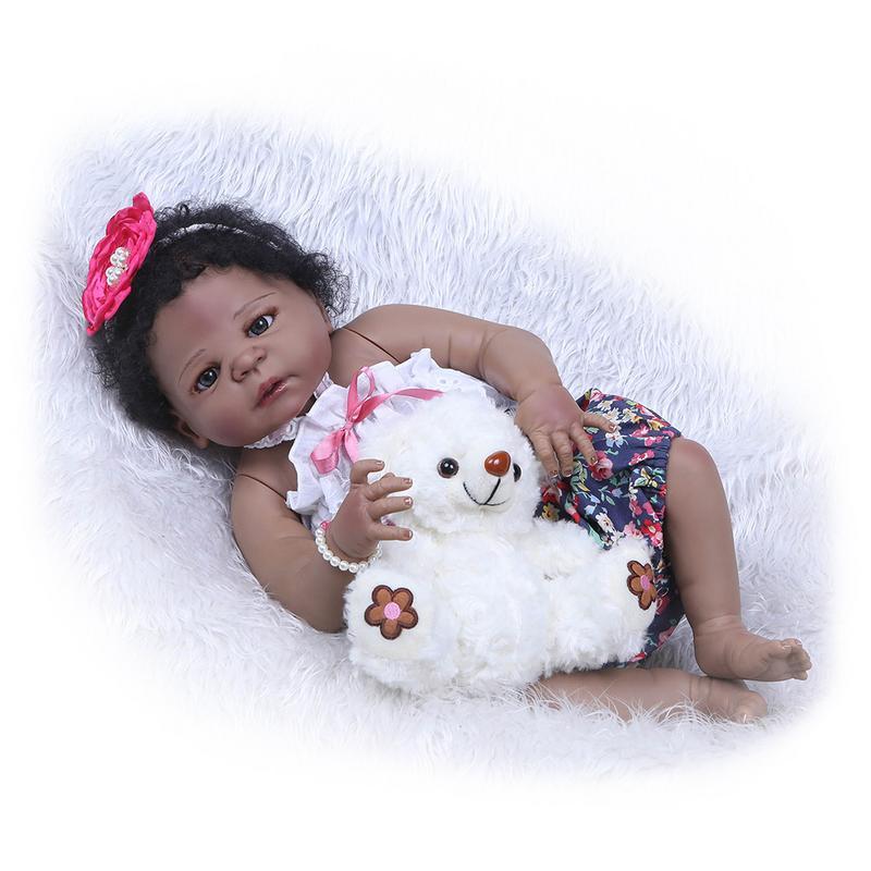 57 см черная кожа моделирование силиконовые возрождается детские игрушки Куклы новорожденных для маленьких девочек Подарки на день рождени...