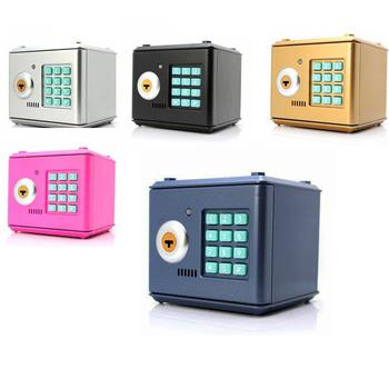 Przenośne bezpieczeństwo Mini skarbonki sejfy box i bezpieczeństwo pieniądze biżuteria schowek kolekcja Box bezpieczeństwo biura domowego schowek DHZ027 tanie i dobre opinie Safe box Living room Workplace Car Storage Box Black Blue Pink Light Blue Piggy Bank European style 13 2X12 5X12 5CM