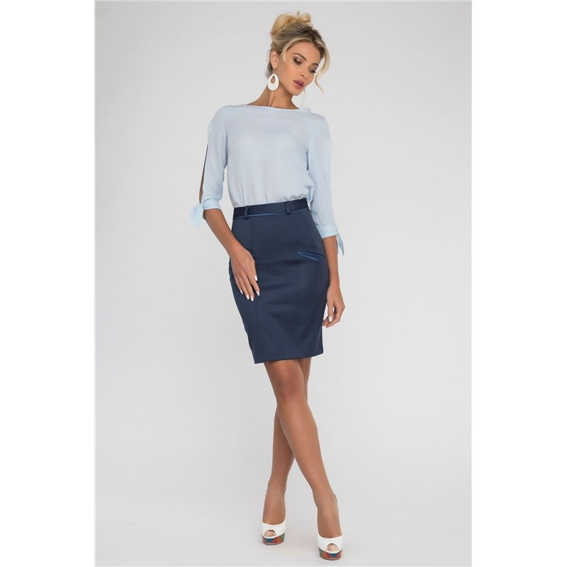 Pencil skirt with contrast pockets. button side stripe pencil skirt