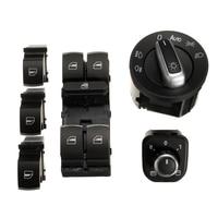 Newest 6pcs Window Mirror Headlight Switch Set For Passat B6 CC Golf MK6 Jet ta