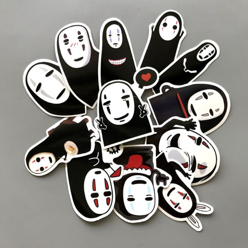 12 Pcs/set New Anime Spirited Away No Face Man Stickers For Skateboard Laptop Luggage Fridge Phone Doodle Waterproof Car Sticker