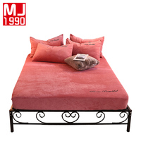100% Velvet Sheets Double Full Set Queen Bed Solid Color Sheets Winter Keep Warm Sheets Modern Style Single Product 1PCS