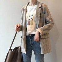 Spring Blazer Slim Korean Restore Plaid Blazer Feminine Outwear Loose Suit Harajuku Vintage Jacket