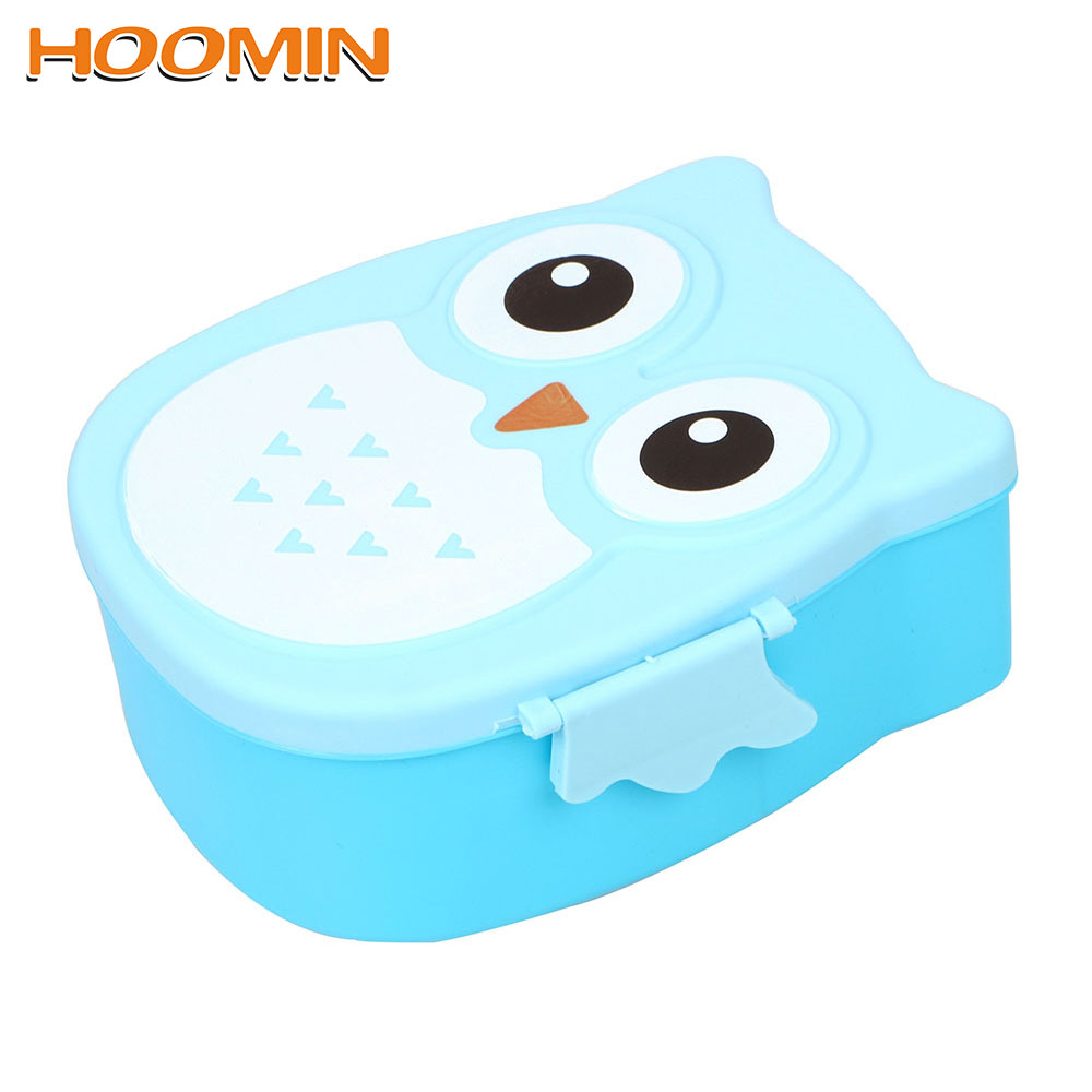 HOOMIN <font><b>Lunch</b></font> <font><b>Box</b></font> <font><b>Food</b></font> <font><b>Container</b></font> Storage Case Children Bento Boxes with Spoon Fork Cute Lunchbox 900ML Owl Shape Tableware Set image