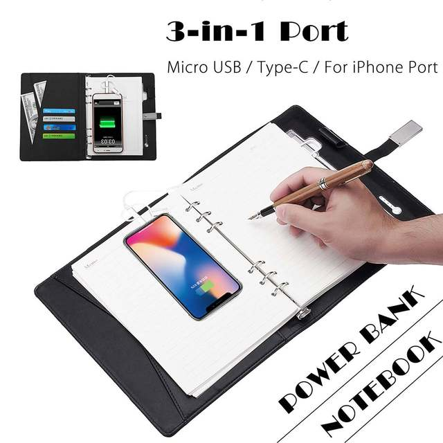 US $26 99 40% OFF 8000mAh Power Bank Notebook Multi Functional Notebook  Charging Business Note Book Binder Spiral Diary Book with USB flash Disk-in