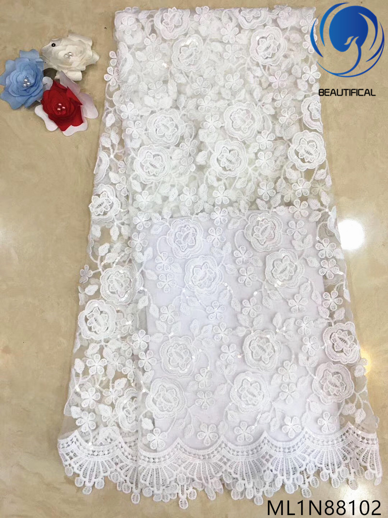 Beautifical nigerian lace fabrics 2019 New design embroidery net lace fabric for wedding 5yards/lot french lace sequins ML1N881Beautifical nigerian lace fabrics 2019 New design embroidery net lace fabric for wedding 5yards/lot french lace sequins ML1N881