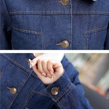 3318 Autumn Winter Jeans Jacket Women With Fur Warm Plus Size 4XL 5XL Slim