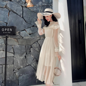 Image 3 - New 2019 Spring Autumn Women dress Flare Sleeve Patchwork Mesh Turtleneck Half A High end French Lace Dresses Blue Apricot 9086