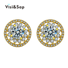 купить 18k Rose Gold Plated AAA CZ diamond Round stone earrings for women fashion jewelry Wedding engagement earrings bijoux VSE049 по цене 125.05 рублей