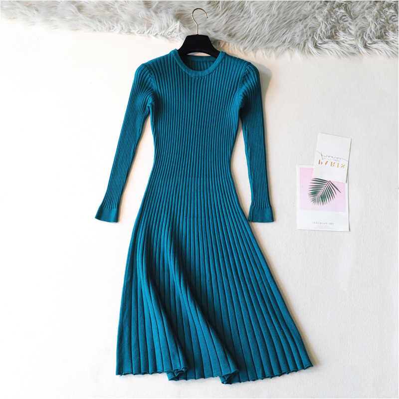 2019 Woman Elegant Autumn Winter Sweater Bodycon Skater Solid Dresses For Women Long Thick Knit Dress Warm Full Sleeve A-line
