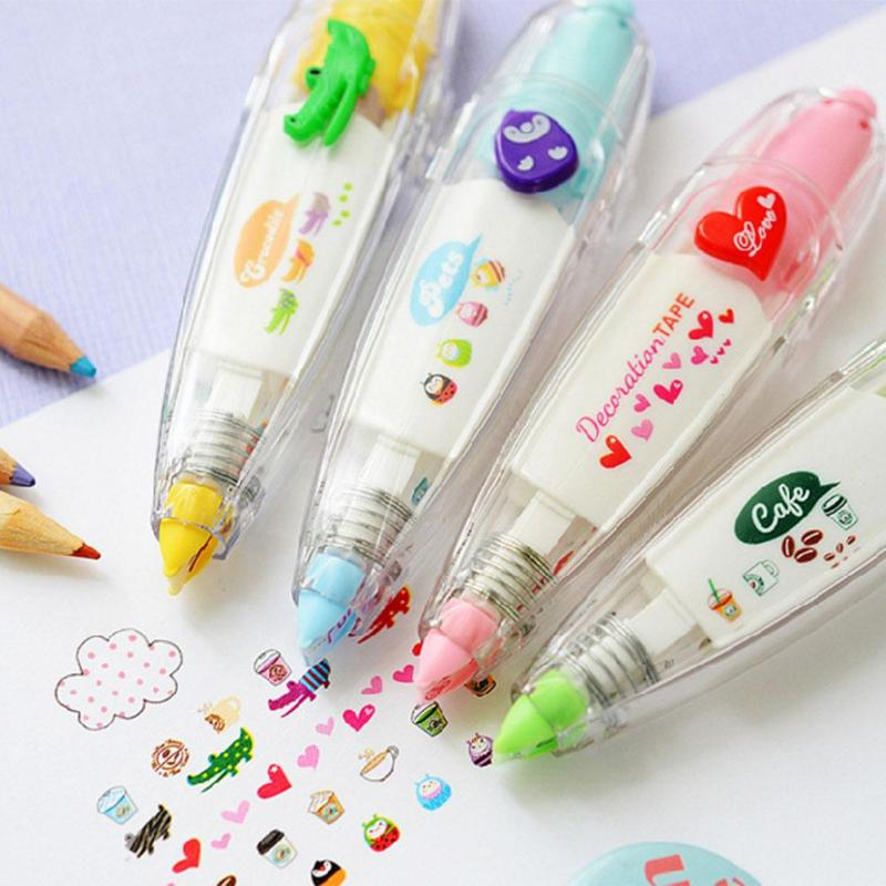 Kawaii Cute Press Type Stationery Tapes Decorative Pen Correction Tape Diary Scrapbooking Album Stationery Tools School Supplies