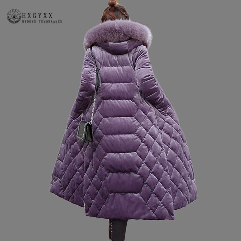 2019 Velvet Fur Collar Quilted Jacket Women Winter Coat Plus Size Slim Overcoat Zipper   Parka   Female Long Warm Outwear Okd683
