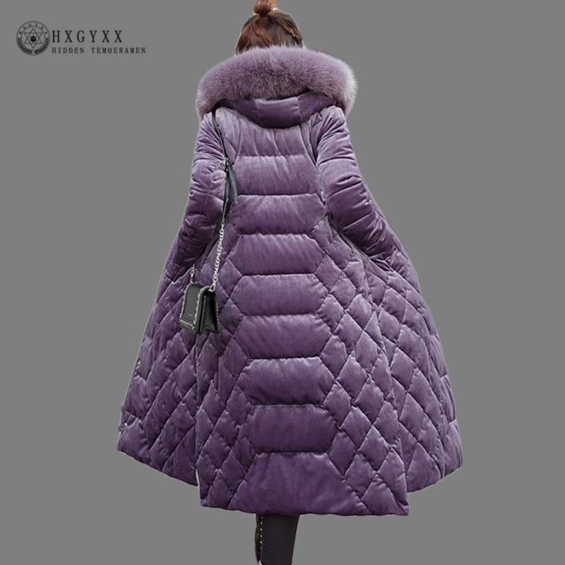 2019 Velvet Fur Collar Quilted Jacket Women Winter Coat Plus Size Slim Overcoat Zipper Parka Female Long Warm Outwear Okd683