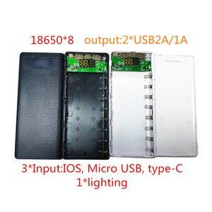 Image 1 - Batterie externe bricolage 2a boîtier 8*18650 chargeur portatif batterie boîte avec éclairage chargeur Mobile bricolage coque pour iphone6 Plus S6 xiaomi