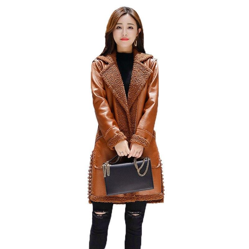 Agneau Manteau De Veste Version En Femmes Cuir 2018 Long Amérique Tempérament Mode Hiver Orange Coréenne Fourrure green Nouvelle Une Europe Perlé Paragraphe YHq0wU
