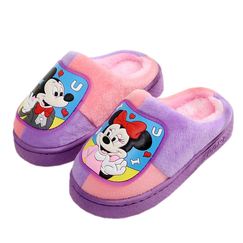 2018 Winter New Girls House Cartoon Slipper for Kids Flip Flops Warm Indoor Flats Shoes Baby Boys 3-12 Years Christmas Slippers