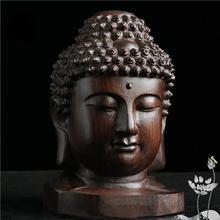 6CM Creative Buddha Statue Wood Wooden Figurine Mahogany India Head Sakyamuni Fengshui Gifts A30