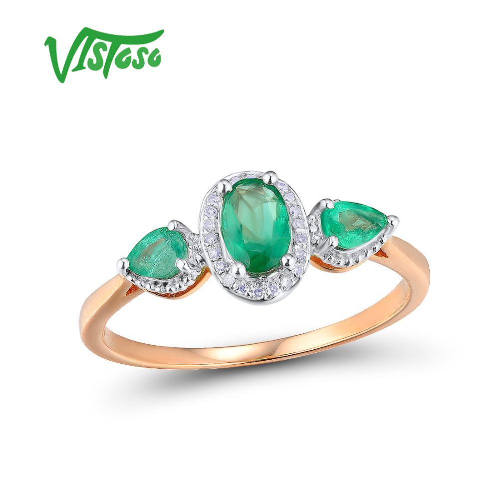 VISTOSO Oro Anelli Per Le Donne Genuino 14 k 585 Oro Rosa Anello Magico Smeraldo Scintillante Del Diamante di Fidanzamento Anniversario Gioielleria Raffinata
