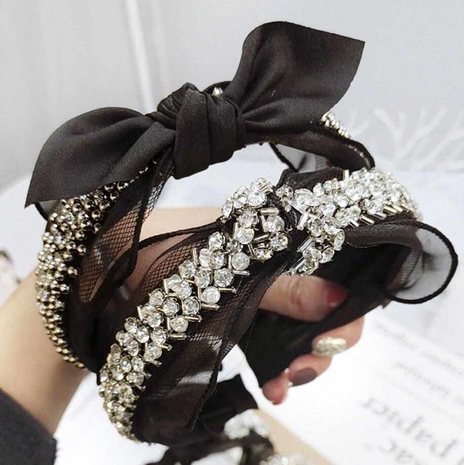 Bandeau en dentelle diamant perle strass Accessoires de cheveux noir papillon Boutique arc bandeaux de cheveux pour les femmes noeud Accessoires Haar
