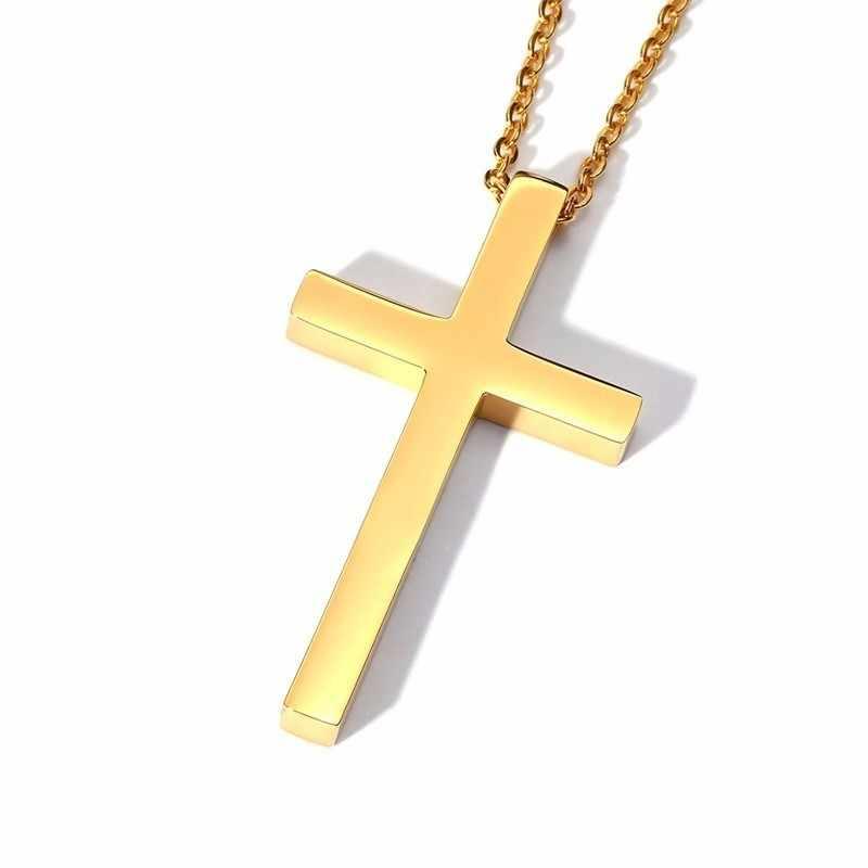 Duże złote krzyż naszyjnik dla mężczyzn ze stali nierdzewnej stalowy wisiorek dla kobiet mężczyzn biżuteria