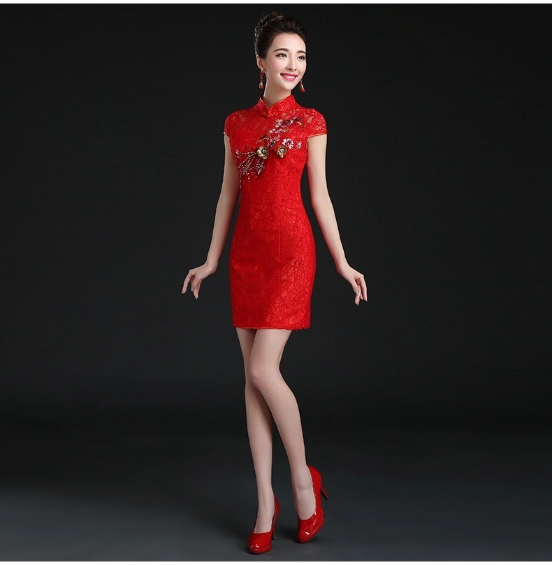 Вышитое Платье чанпао короткое Кружевное традиционное китайское платье с аппликацией свадебное Ципао китайский халат красные винтажные в