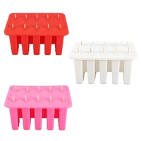 New 10 Cells Silica Gel Frozen Homemade Food Grade Silicone Ice Cream Mold Popsicle Maker with 50 Sticks DIY Kitchen Tools