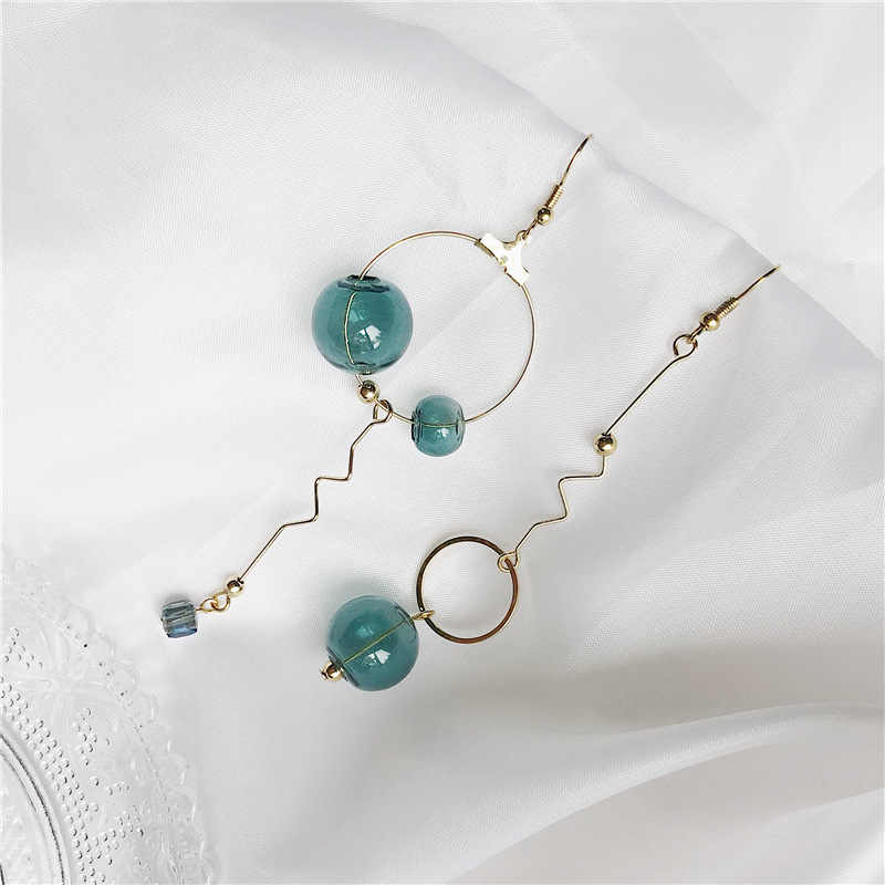 2019 new design brand bubble dark green long earrings for women.