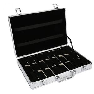 Image 1 - 24 grille valise en aluminium présentoir boîte de rangement montre boîte de rangement boîtier montre support horloge montre horloge boîte