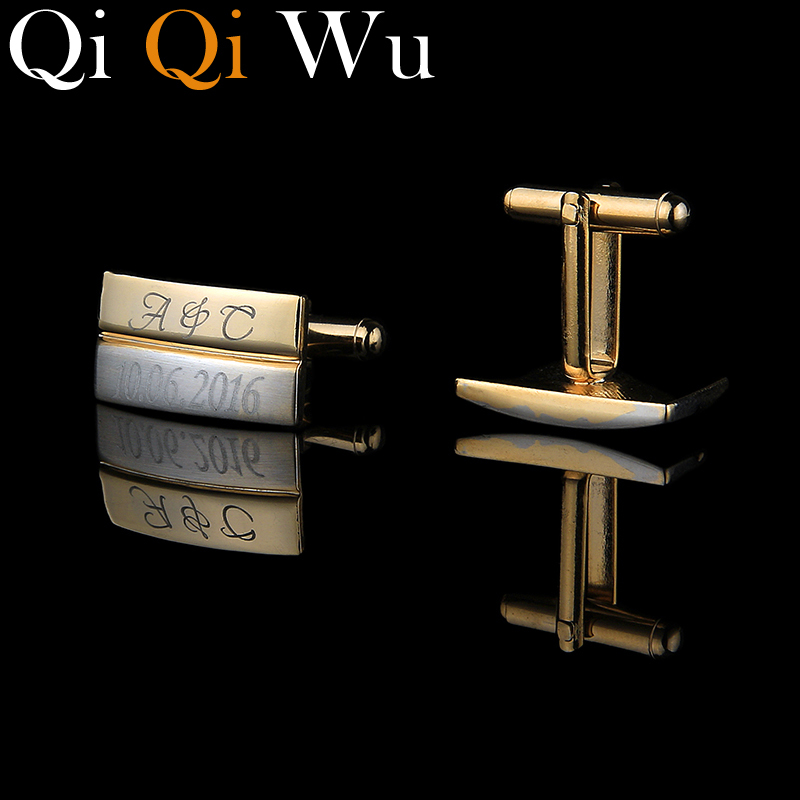 dbe0ca4ea97f Qi Qi Wu New Gold Customized Cufflinks Wedding Groomsmen Engraved French  Cuffs Personalized Business Gifts Golden