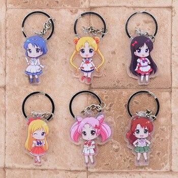 6 sztuk/zestaw Sailor Moon figurka zabawka Sailor Moon Chibiusa Mizuno Ami Kino Makoto Hino Rei figurki brelok akrylowy zestaw wisiorek zabawki