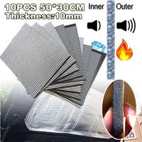 10Pcs 10mm 30*50cm Trunk Sound Deadener Road Noise Dampener Heat Barrier Mat, foam rubber with Aluminum sheet 1100(AA)