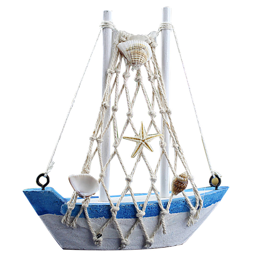 Popular Retro Style Wooden Mini Sailing Boat Model Home Ornament Decor Sailing Ship Model