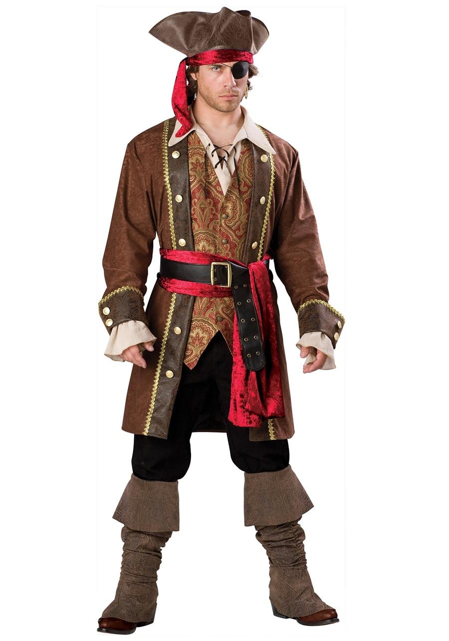 Adult Men's Captain Pirate Costume Pirates of the Caribbean Cosplay Uniform