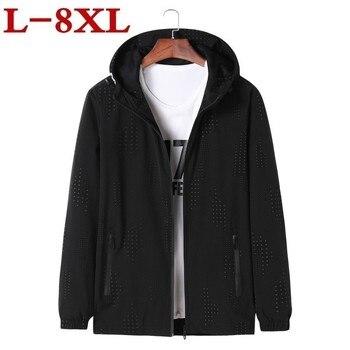 8xl 7xl 2019 New Spring Autumn Hooded Jacket Men Patchwork Casual Slim Man Clothing Zipper Windbreaker Thin Coat