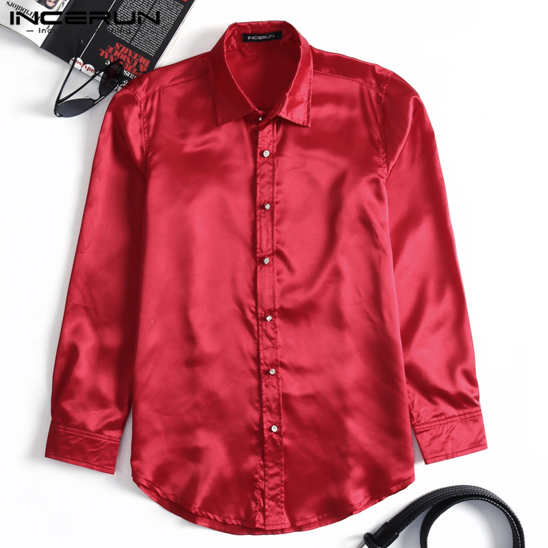 INCERUN Mens Dress Shirt Silk Smooth Satin Long Sleeve Top NightClub Party Shirt Slim Fit Shiny Solid Men Shirt Camisa Masculina